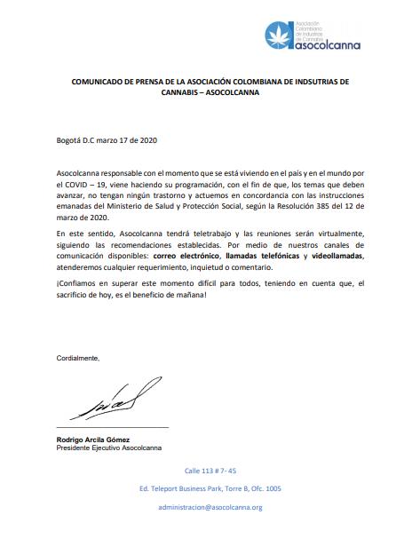 Comunicado de prensa Asocolcanna